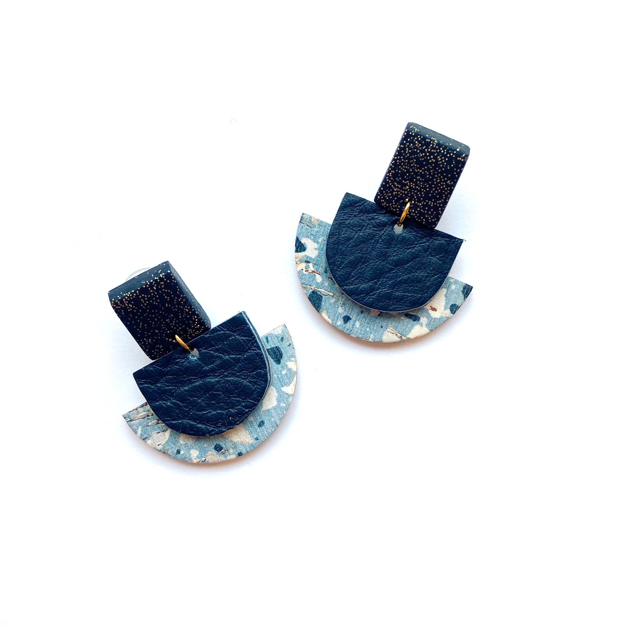 Blue Geometric earrings by Two boss beads