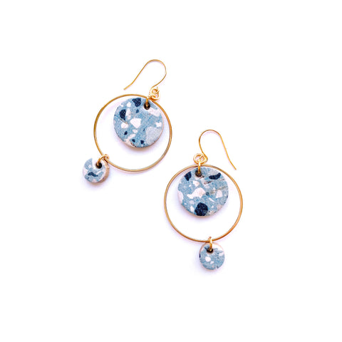 Blue terrazzo dangle earrings by Two boss beads