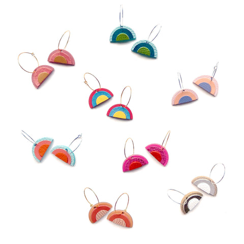 Colorful rainbow hoop earrings in leather