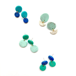 Sample blue earrings in polymer clay