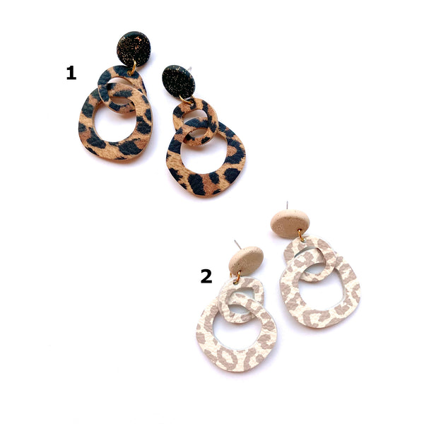 Sample abstract hoop double drop earrings in animal print leather