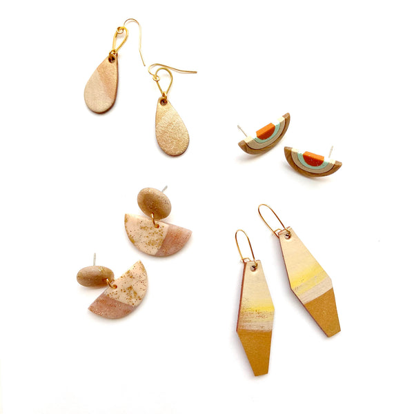 Sample beige earrings in leather or polymer clay