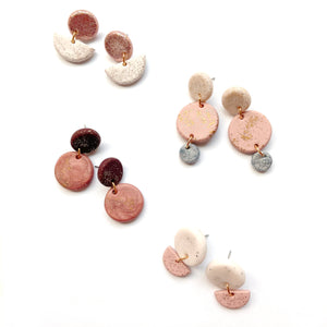 Sample pink earrings in polymer clay