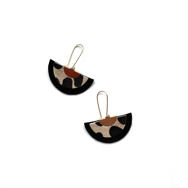 Fan statement earrings in leopard print leather by Two boss beads