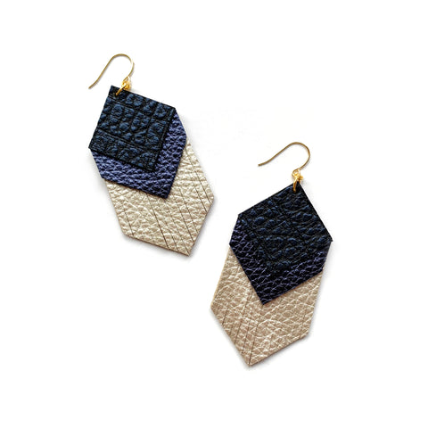 Geometric fringe earrings in navy blue leather by Two boss beads