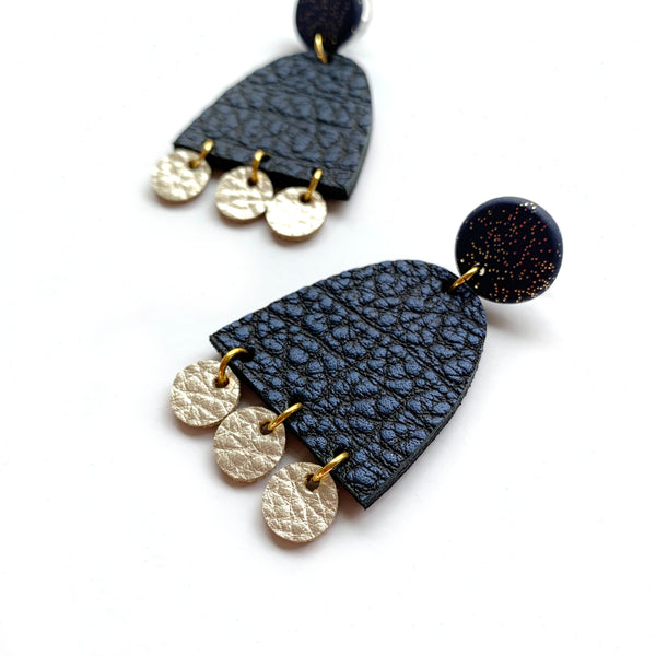 Statement dangle earrings in navy blue leather by Two boss beads