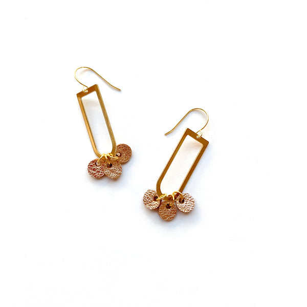 Brass dangle earrings with rose gold leather by Two boss beads