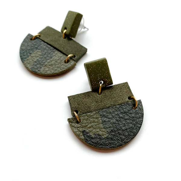 Geometric earrings in camo print leather by Two boss beads