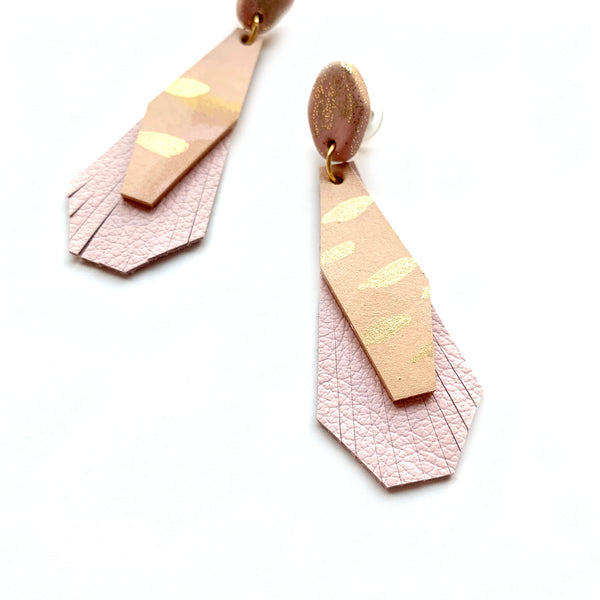 Pale pink leather fringe earrings by Two boss beads