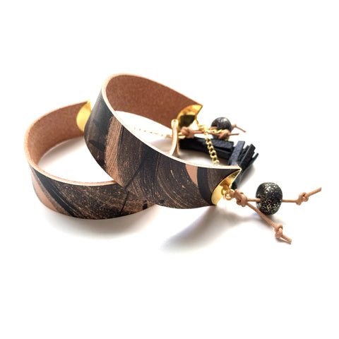 Leather statement bracelet by Two boss beads
