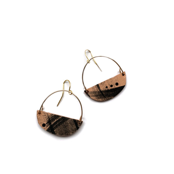 Two boss beads statement earrings in leather