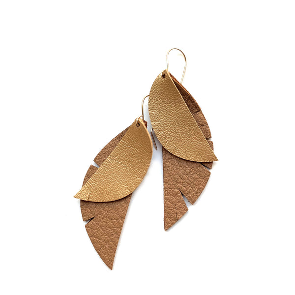 Leather feather earrings by Two boss beads
