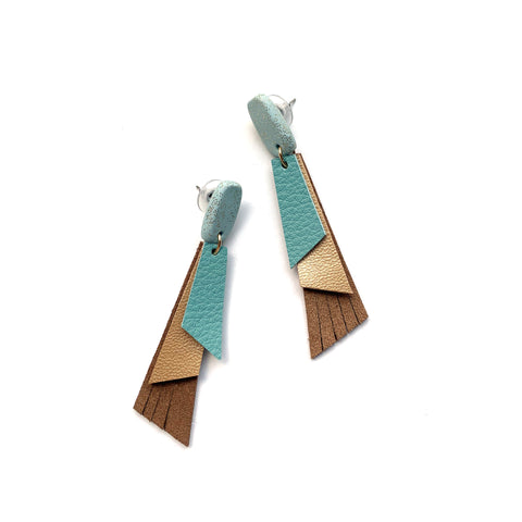 Long triangle earrings in turquoise and caramel leather