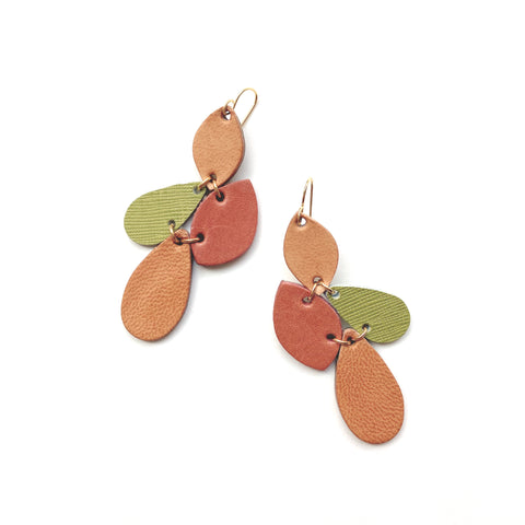 Leaf earrings by Two boss beads