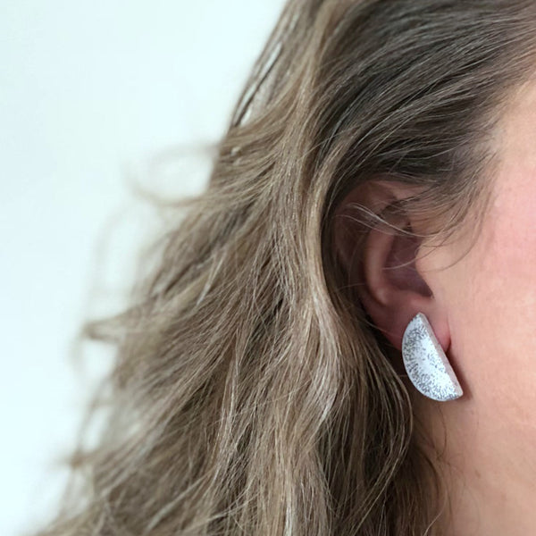 Big half moon terrazzo stud earrings