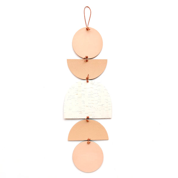 Leather wall hanging set in white and tan