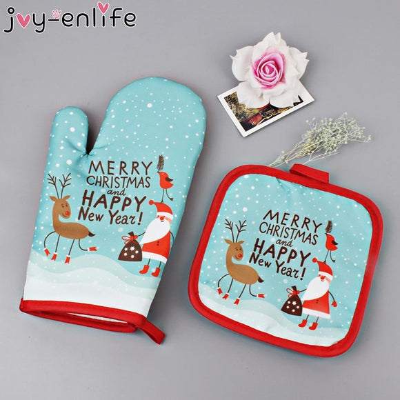 2Pcs/set Christmas Themed Hot Oven Mitts