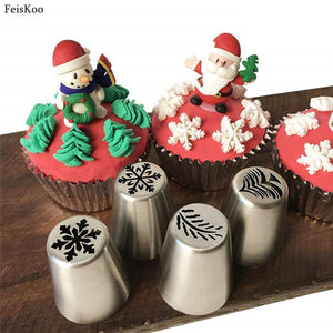 4pcs Icing Christmas Russian Tips