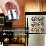 6 Pcs Wall Mountable Magnetic Spice Jars