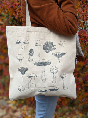 mushroom types reusable tote bag