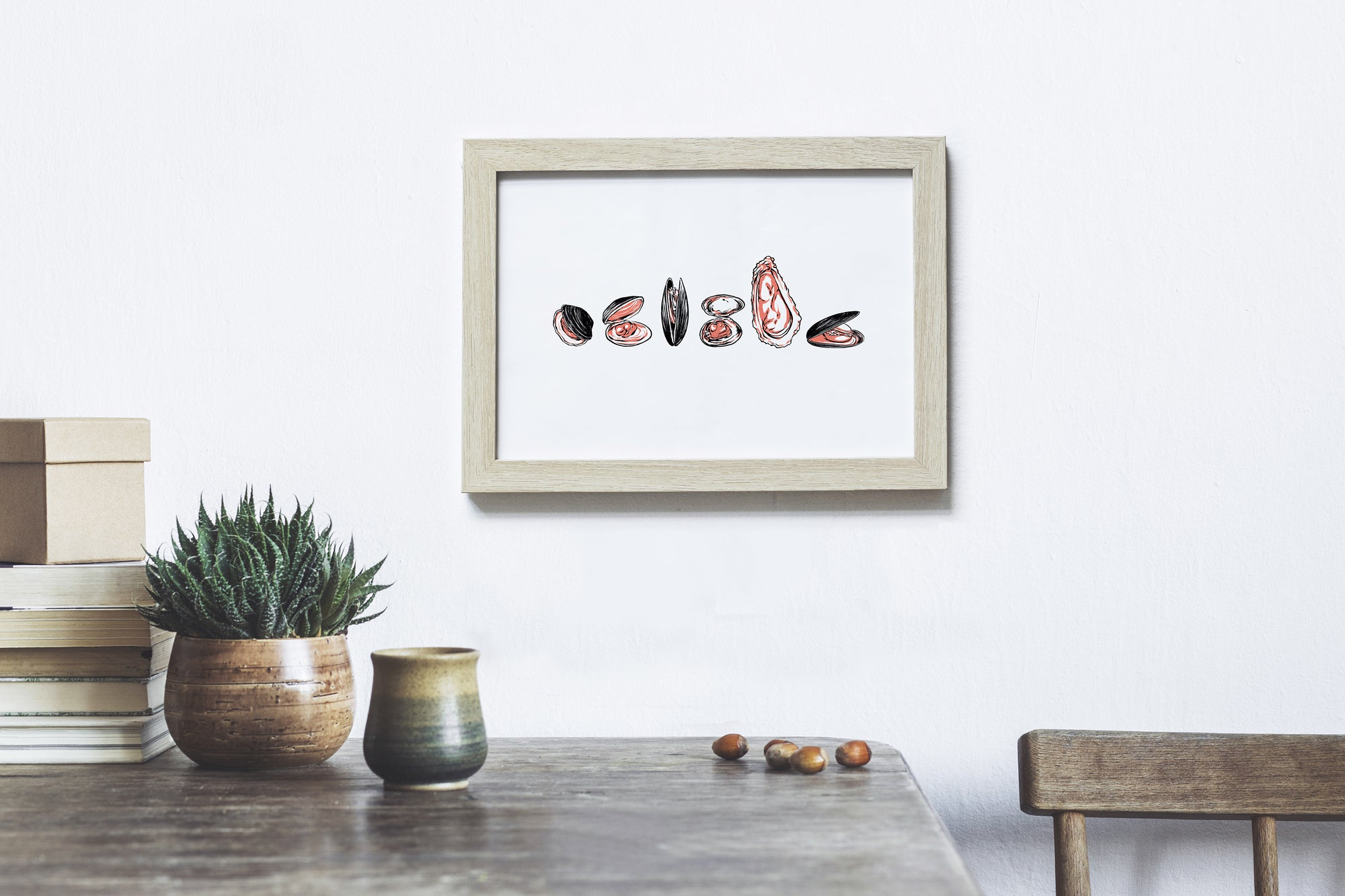 Oysters and clams - Art Print