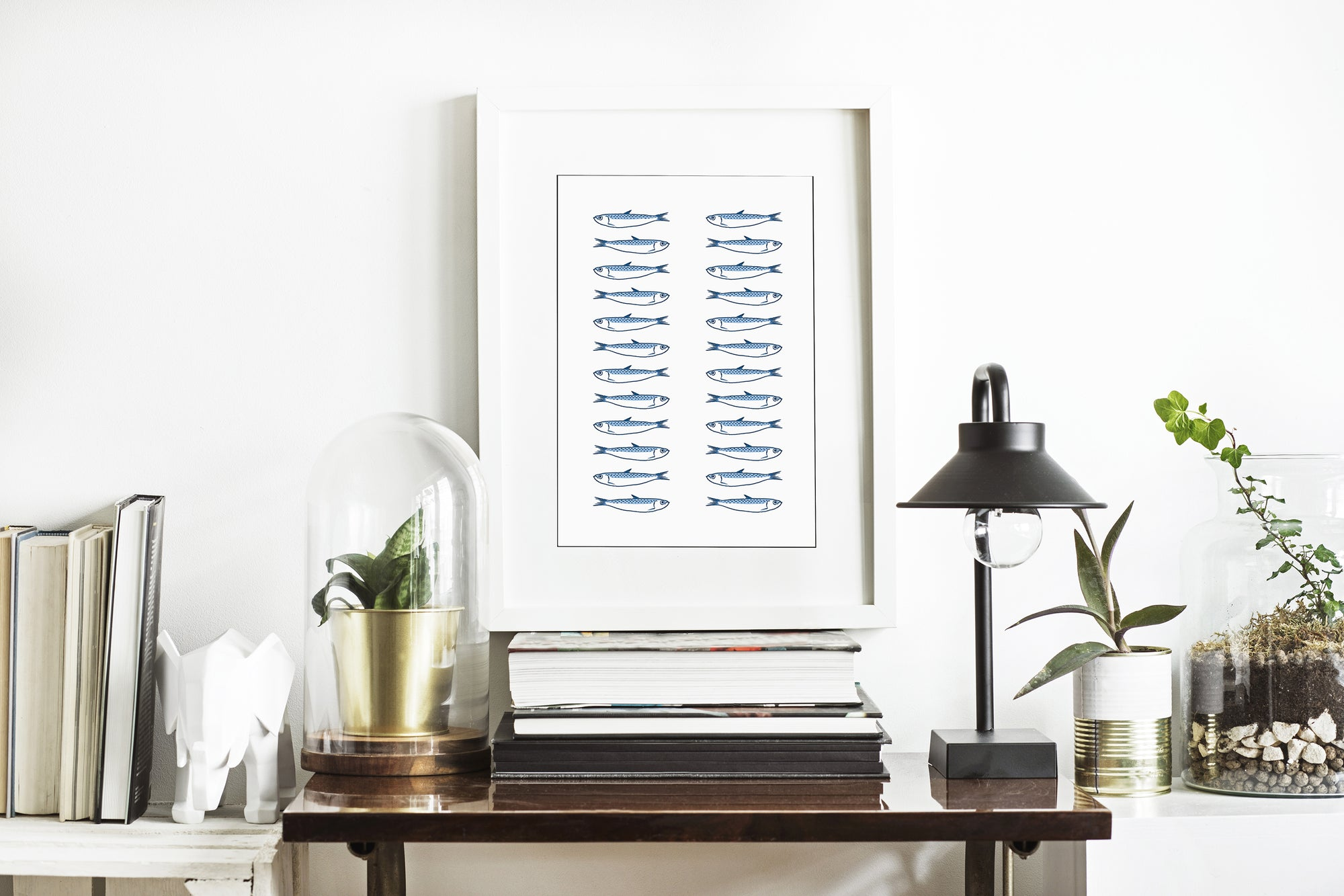 Blue Sardines in 2 rows - Art Print