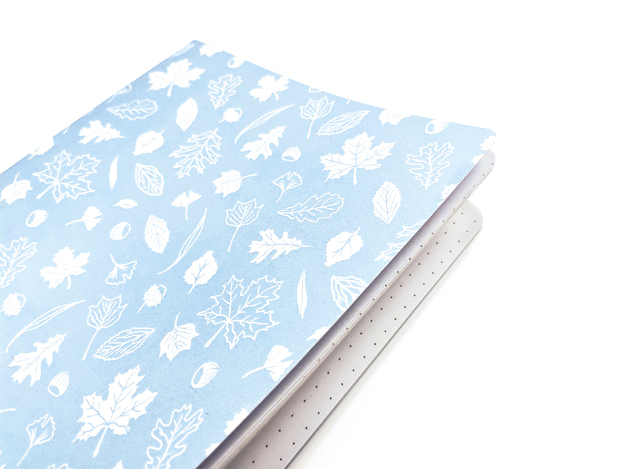 blue white floral pattern notebook