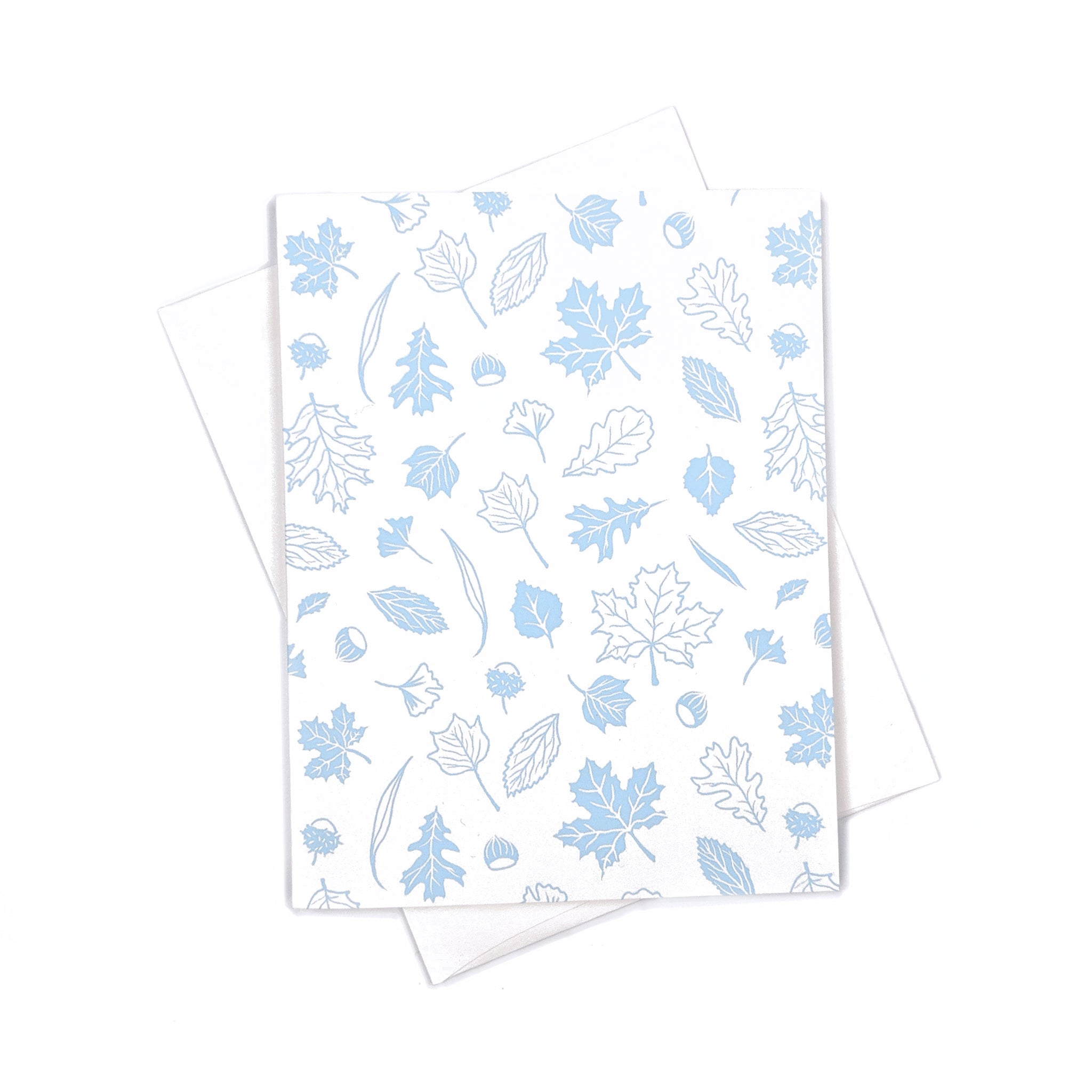 White & light blue leaves pattern - Holidays Card