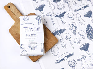 blue white mushroom screen printed tea towel