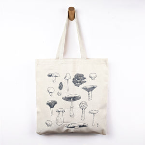 mushroom types illustration tote bag