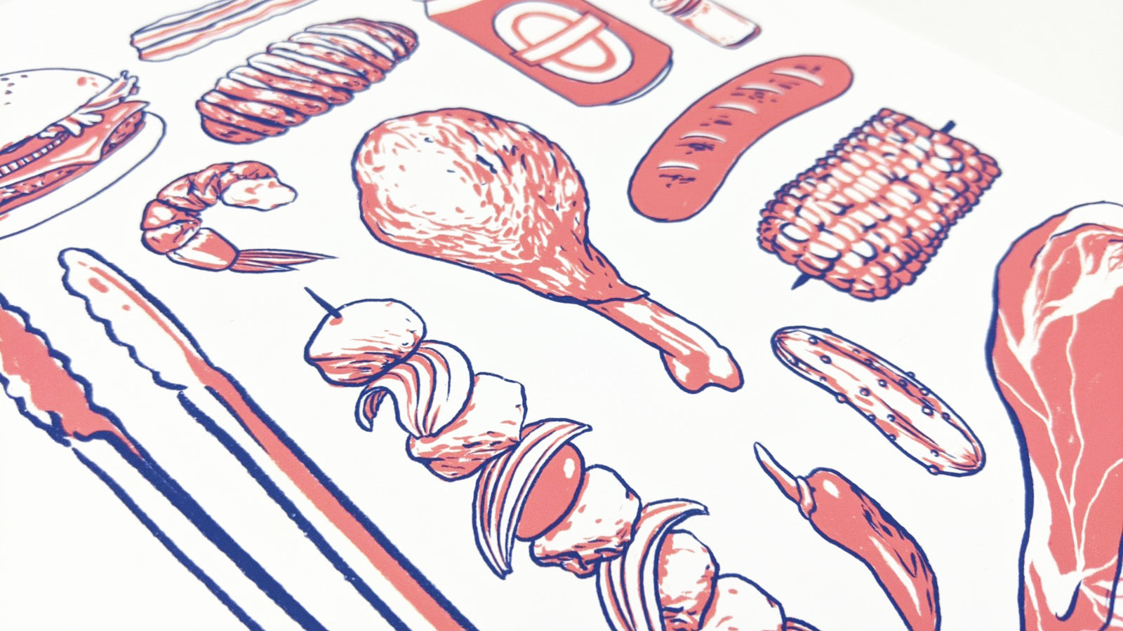 BBQ - blue & red | Art Print