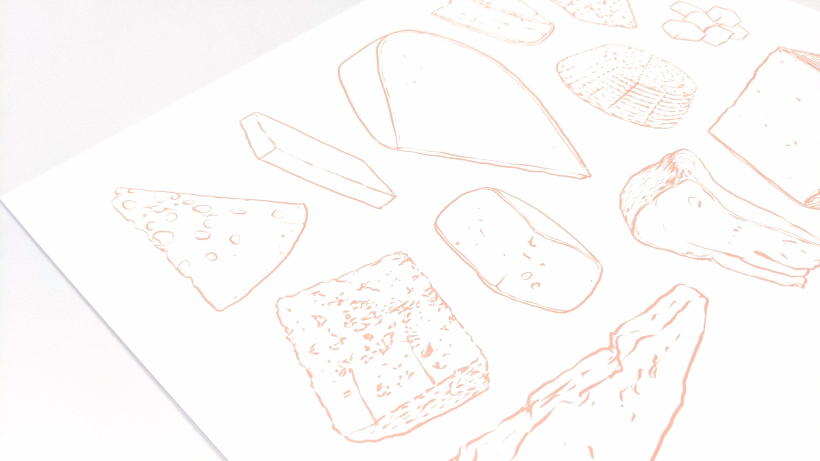 Cheese Types - orange line art | Art Print