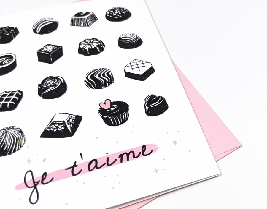 chocolate bonbon valentines card - je t'aime greeting card