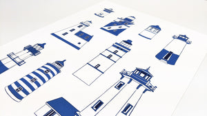 Blue lighthouse types - Art Print