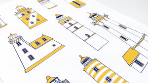 Yellow lighthouse types - Art Print