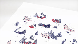 Winter village snowy houses - Art Print
