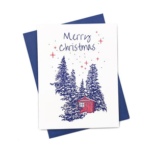 Merry Christmas cabin - Greeting Card