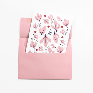 Pink sassafras floral pattern - Love greeting Card