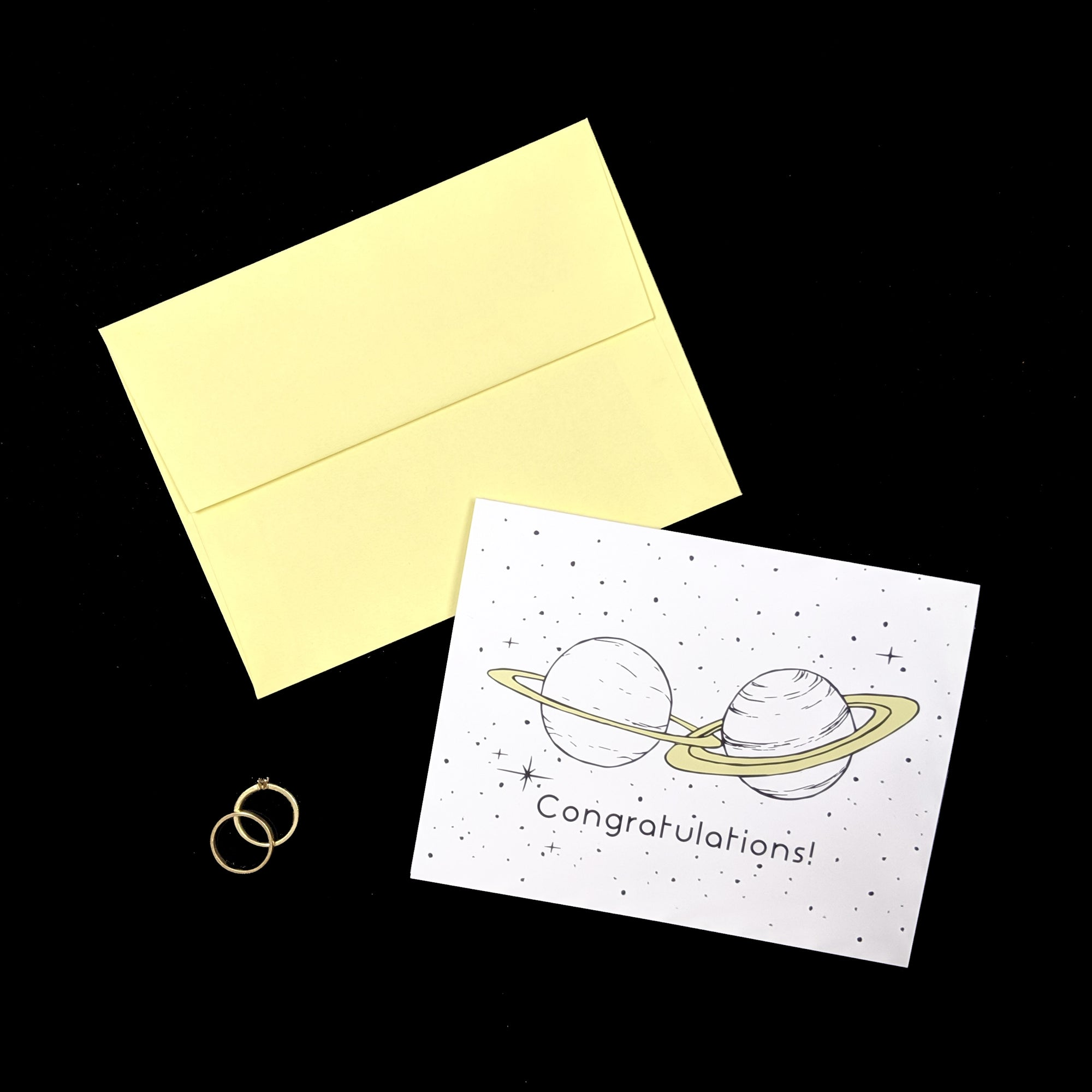 Planet rings - wedding card