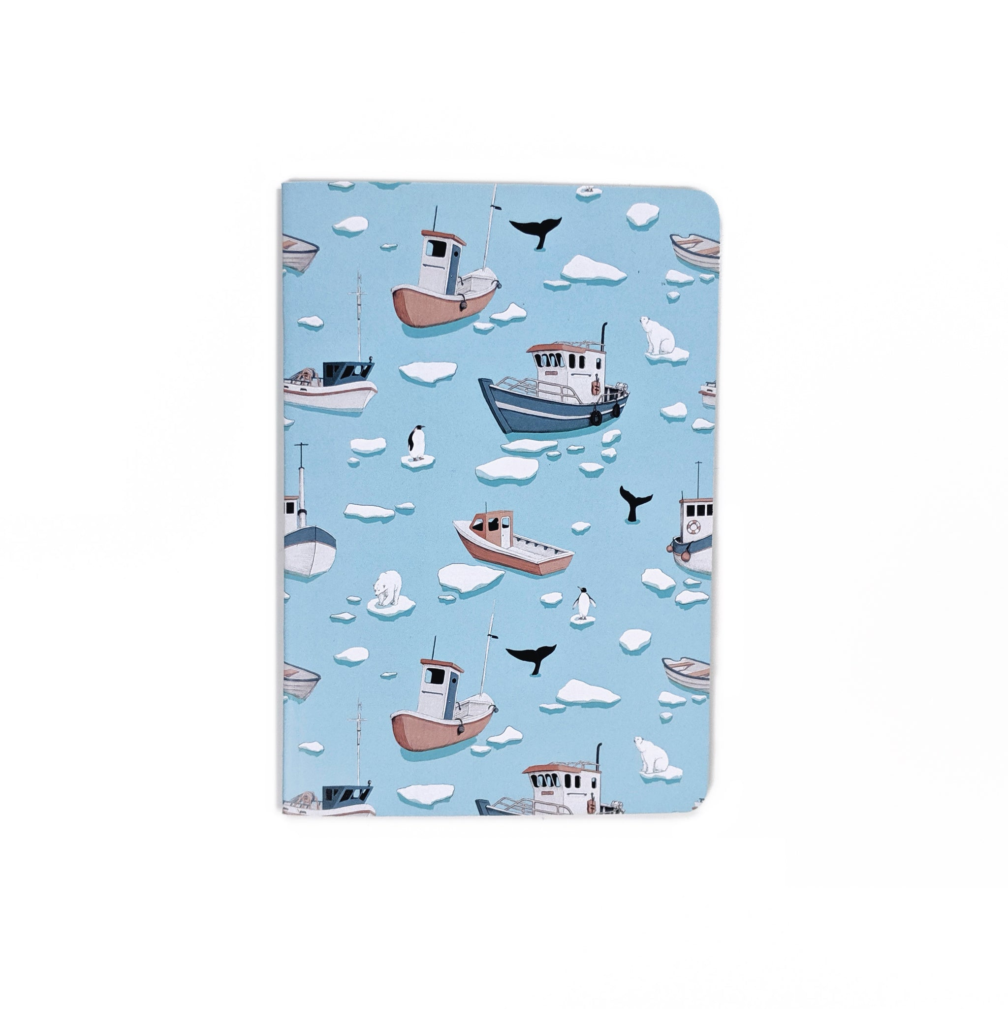 arctic ocean boats and icebergs mini notebook