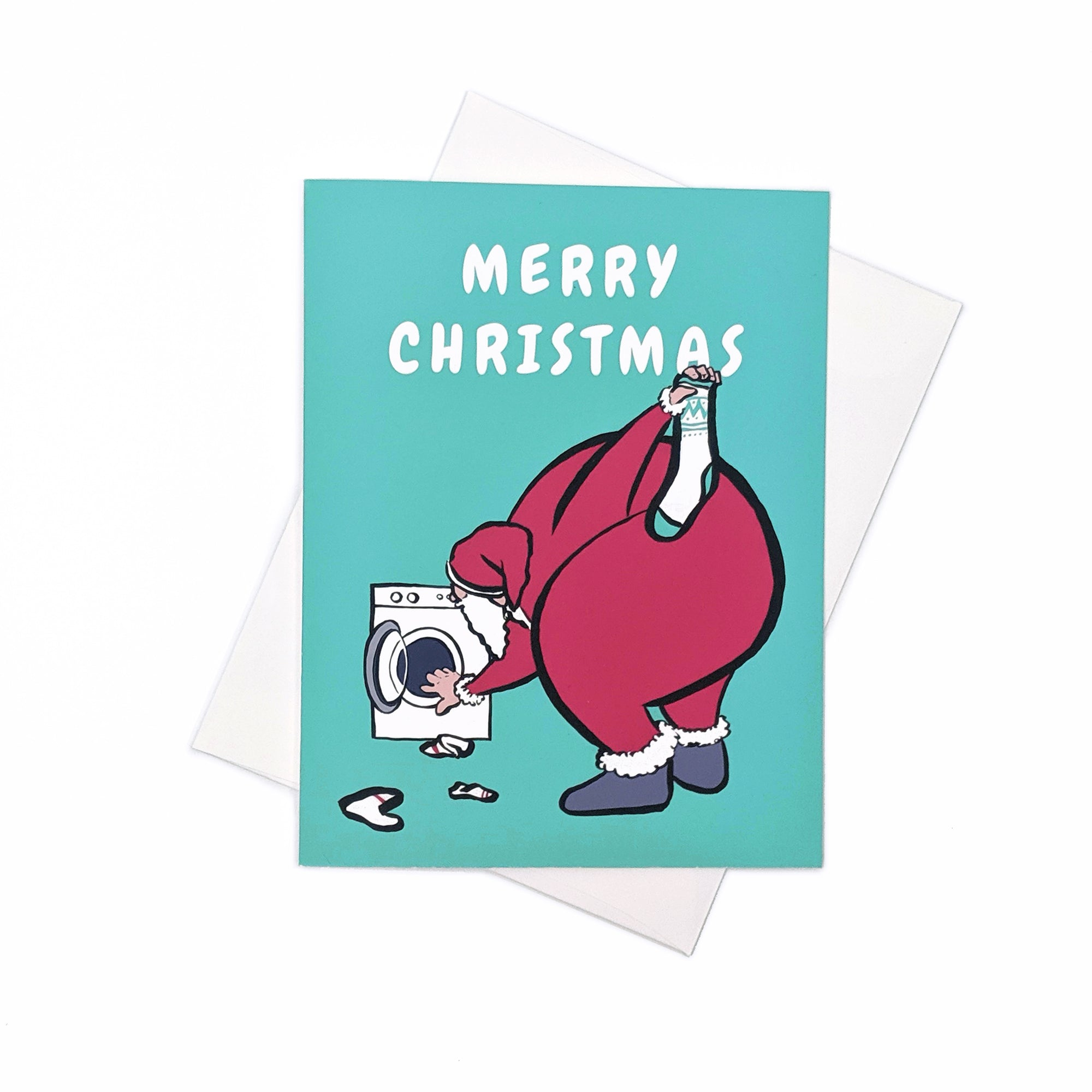 Santa Laundry Socks - Christmas Card
