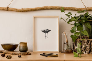 wall art decor - botanical saffron mushroom ink black and white