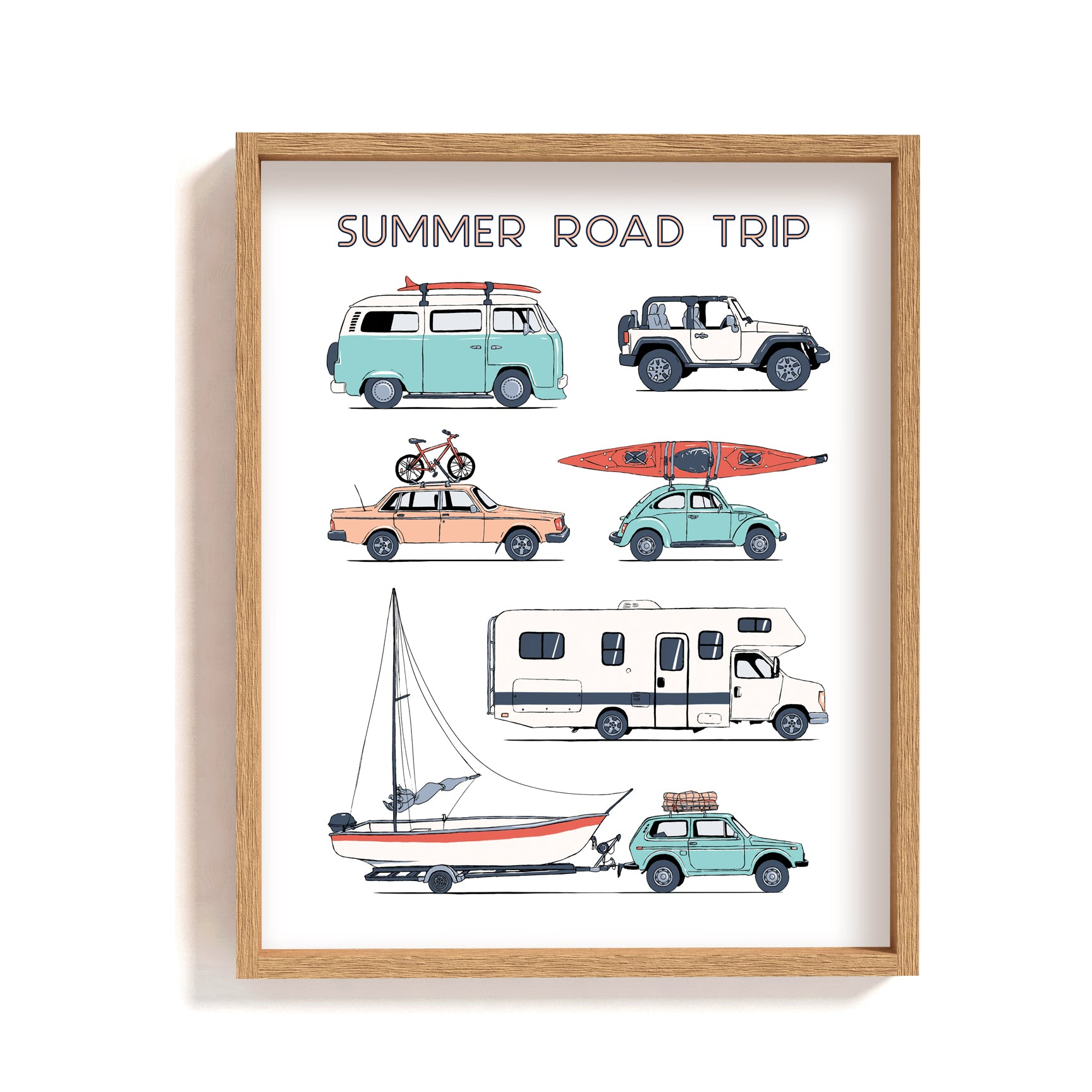 road trip art print, van, car, bike, camper, jeep, boat illustration