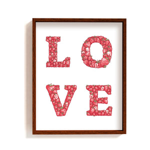 LOVE - Strawberries lettering | Art Print