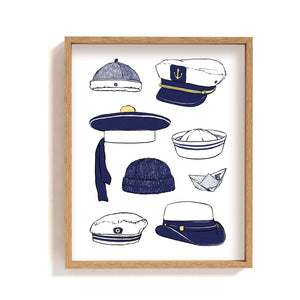 skipper cap illustration sailor hat poster wall decor