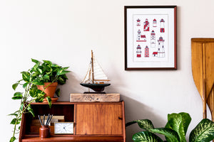 lighthouse illustration print home decor
