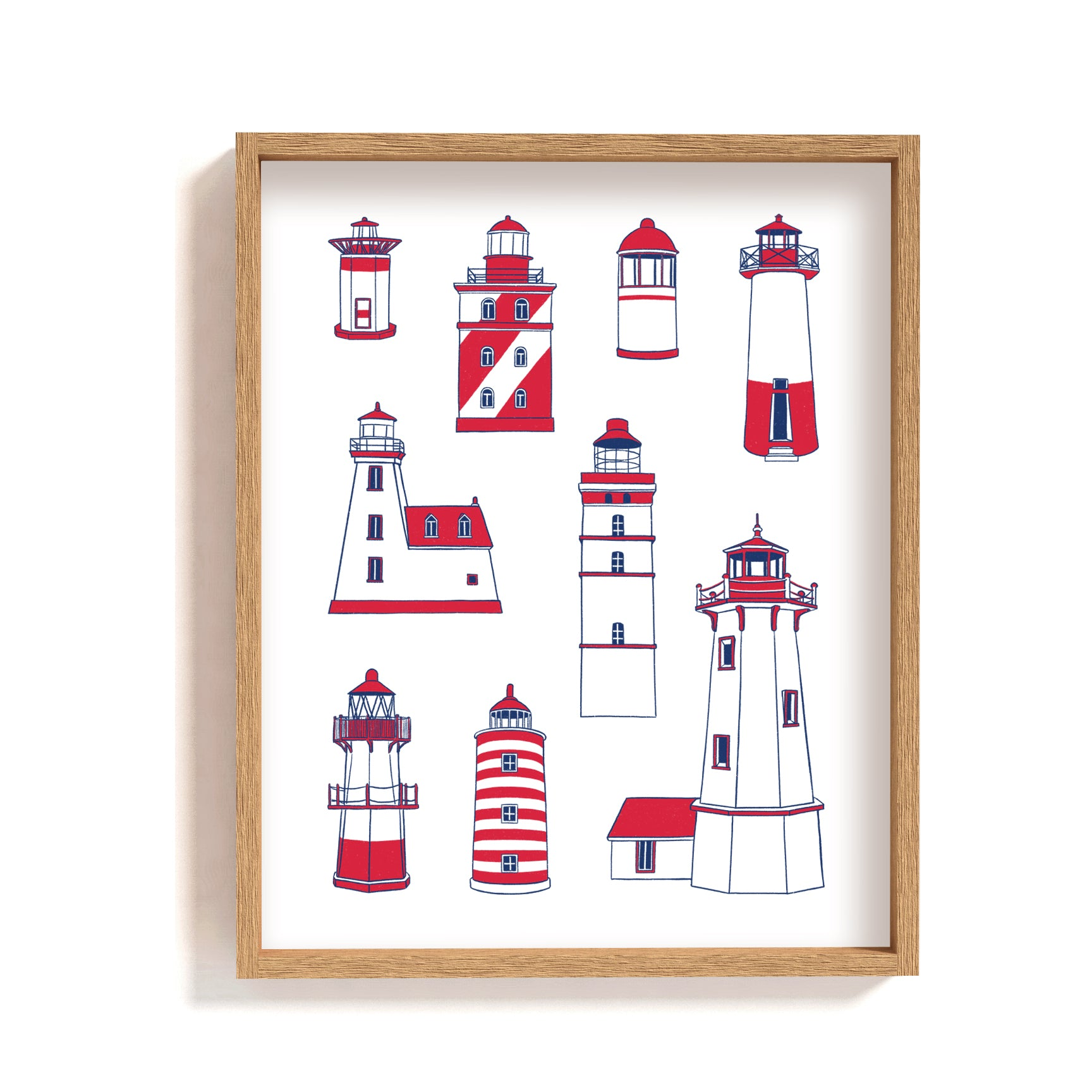 lighthouse type poster wall art illustration