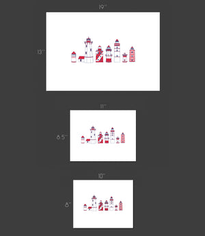 Red lighthouse types row - Art Print
