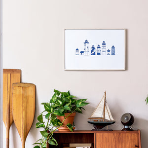 Blue lighthouse types row - Art Print