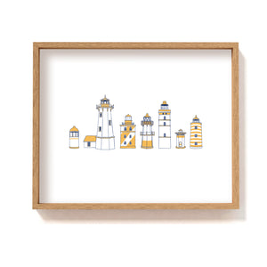 Yellow lighthouse types row - Art Print